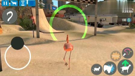 模拟山羊:变成鸟儿,飞跃绿色圈圈,太成功了!