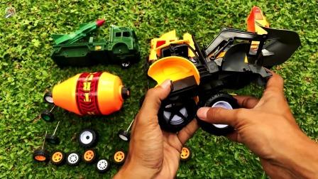 组装车辆玩具,组装搅拌车,挖掘机和装载车玩具