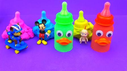 儿童亲子互动,彩泥DIY五颜六色的婴儿奶瓶还有,快来看看吧