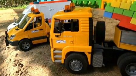 汽车玩具挖掘机联合各种工程车建桥 创意玩具
