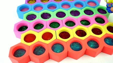 儿童益智:太空沙制作彩色小蜂窝
