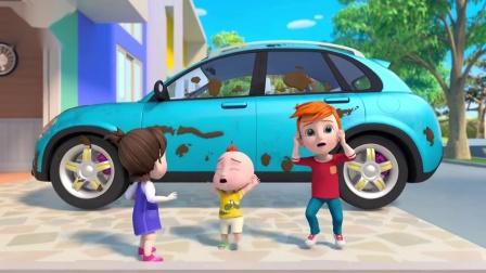 超级宝贝jojo:爸爸刚洗完的车,你不要弄脏