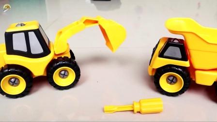 组装工程车玩具,组装轮式挖掘机玩具