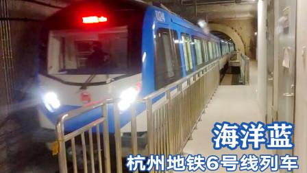 实拍杭州地铁6号线海洋蓝列车,6节编组进中医药大学站停靠