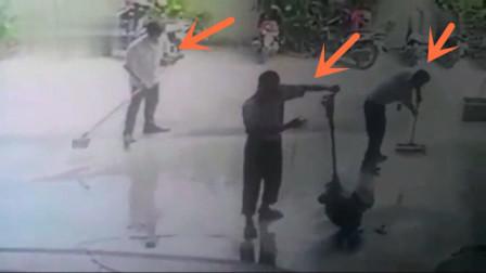 三男子正在施工,突然全部倒在地上,监控拍下可怕一幕