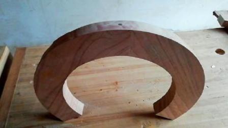 圆凳边框的制作,弧形弯材结合:楔钉榫卯结构