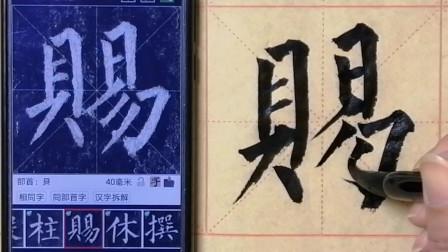 柳公权玄秘塔碑单字练习:柱、赐