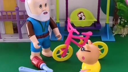 乔治的滑板车坏了,去找老爷爷修一下