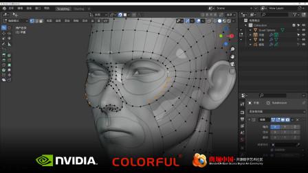blender 2.8~2.9 通用雕刻头像素材制作流程03-初级拓扑结构A