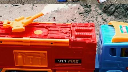 认识工程车玩具 消防车救援侧翻失火的工程车