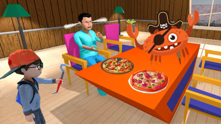 整蛊小兄弟:塔米偷吃了哥哥的披萨,哥哥差点被螃蟹咬了!