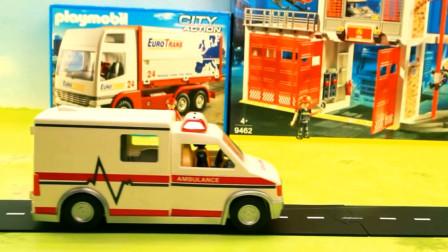 组装各种汽车工程车救护车与消防车玩具 亲子益智