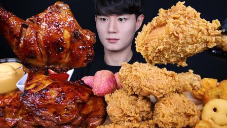 【咀嚼音】牙买加烤鸡腿、韩式炸鸡、炸鸡块、薯条