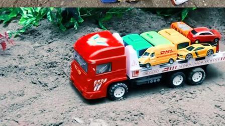 认识工程车玩具 加长拖车运送小汽车