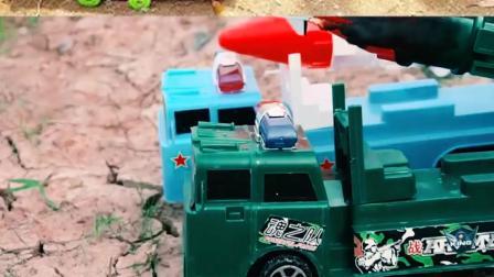 认识工程车玩具 坦克导弹车比赛打仗