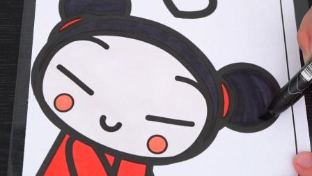 可爱的中国娃娃卡通简笔画上色游戏