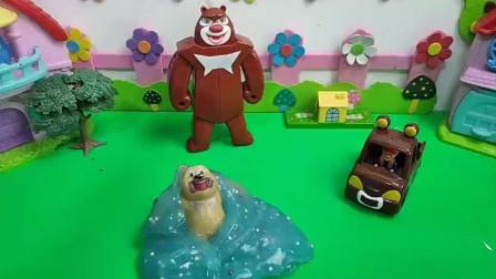 熊二也想变身合体去保护森林。