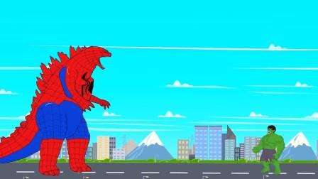 蜘蛛哥斯拉变异了,体型变大了无数倍,这下子绿巨人被暴揍了!