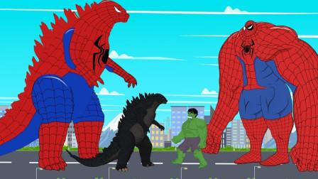 绿巨人被蜘蛛哥斯拉逼入了绝境,绿巨人因此变异了,哥斯拉危险了