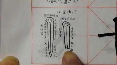 柳体楷书基本笔画:竖的写法之二。例字:十、正