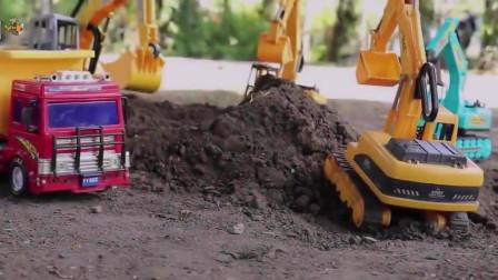 挖掘机世界,好多台挖掘机工地现场挖沙土,大卡车自卸车工作表演。