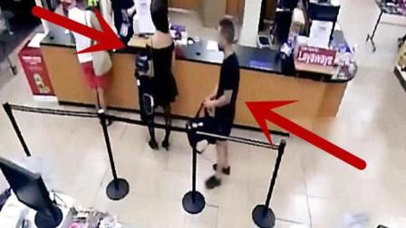 短裙女子正排队结账,要不是监控,都不知身后发生了什么!