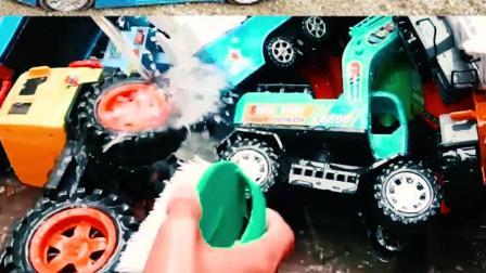 认识工程车玩具 清洗火箭车、翻斗车