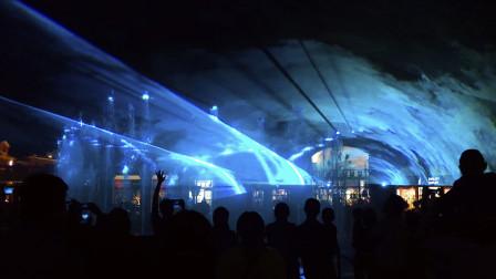 石家庄奥特莱斯 夜晚10点 喷泉灯光秀极光秀