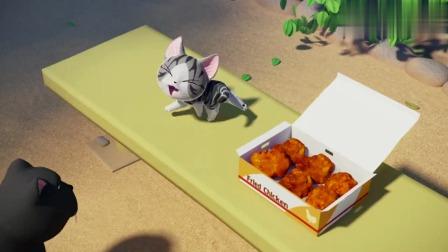 甜甜私房猫:小奇把炸鸡当雷猎物,开启战斗模式,真是太搞笑了