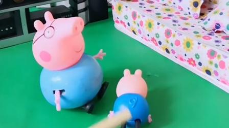 老师给猪爸爸打了电话,说乔治考试又不及格