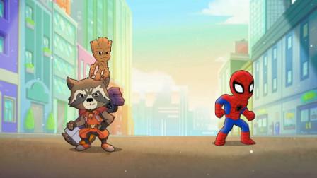蜘蛛侠:蜘蛛侠和小伙伴一起抓破坏城市的兔子,快来看