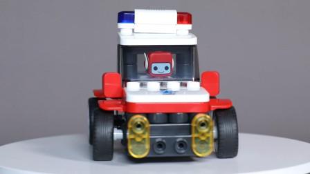 可以遥控的积木警车,布鲁可儿童益智玩具试玩
