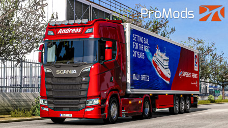 欧洲卡车模拟2 #385:坐一晚上船 于清晨登陆意大利继续运送牛肉   Euro Truck Simulator 2
