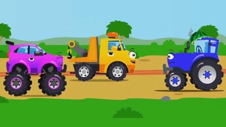小伙伴们拯救受困的拉着西瓜的拖拉机!