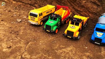 垃圾收集车玩具,挖掘机给自卸车装泥土真棒