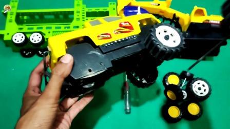 组装大卡车,运输车和挖掘机玩具