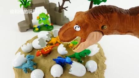 恐龙侏罗纪世界之战霸王龙对峙恐龙美卡迪诺侏罗纪世界.