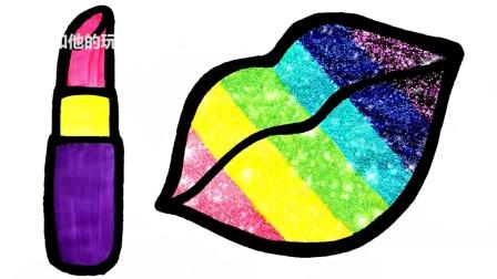 学习为儿童绘画和上色彩虹唇