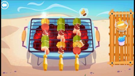 海岛美食小游戏,酱汁调料要涂抹均匀哟!