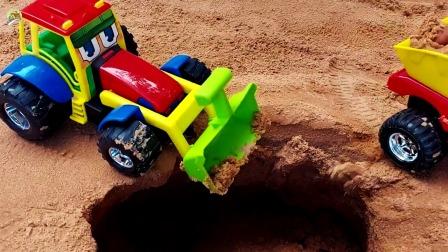 卡通装载车和自卸车修路真好玩,儿童车辆玩具