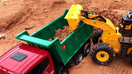 大车厢自卸车拉沙土铺路真棒,儿童自卸车玩具