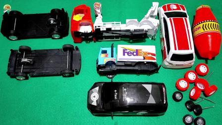 组装两辆小汽车和一辆水泥搅拌车玩具,儿童车辆玩具