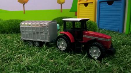 儿童汽车世界,拖拉机彩虹车库运输车油灌车运输物品工作表演。