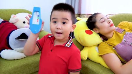 儿童亲子互动,妈妈生病了小萝莉和小哥哥表现乖乖的,快来看看吧