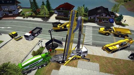 【永哥玩游戏】挖掘机城市建设模拟P630 挖掘机搅拌机自卸车