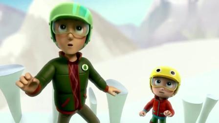 汪汪队:杰克真是厉害,三两下滑下雪山,摆脱了困境!