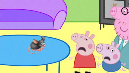 一只大老鼠吓坏了佩奇和乔治, 猪爸爸想到什么办法赶跑老鼠?