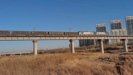 20210117_085501 西康铁路 西局安段HXD2-1163牵引货列通过灞桥湿地公园