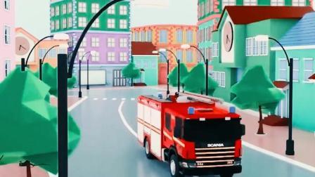 儿童工程车动画 救护车救援困在坑里的警车