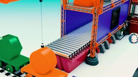 儿童工程车动画 起吊车运送货物